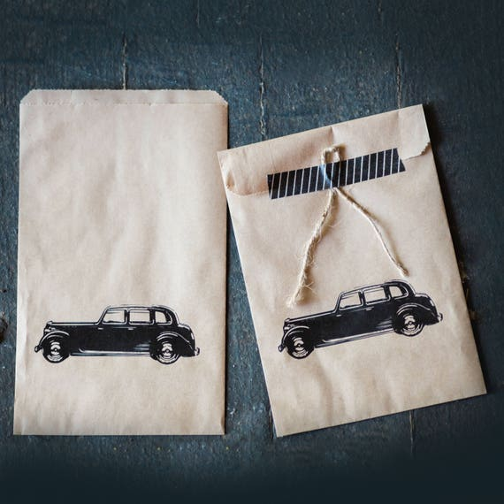 Wedding Favor Kraft Bags - Merchandise - Gift - Food -  Vintage Car design