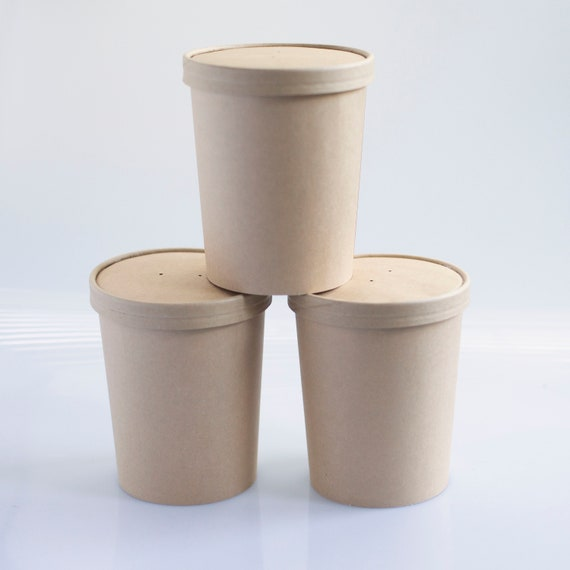 16 oz  Soup Cup | Kraft Ice Cream Cup | Leftovers Container | Wedding Takeout Container  | Hot & Cold Food Container - Set of 5