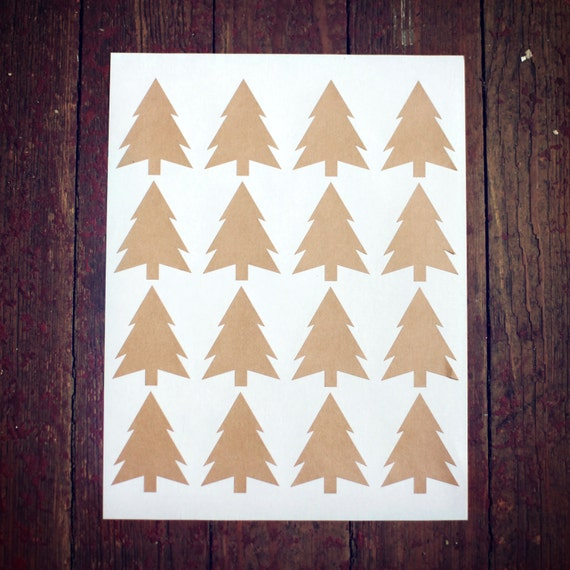 Set of 16- Blank Christmas Tree Stickers