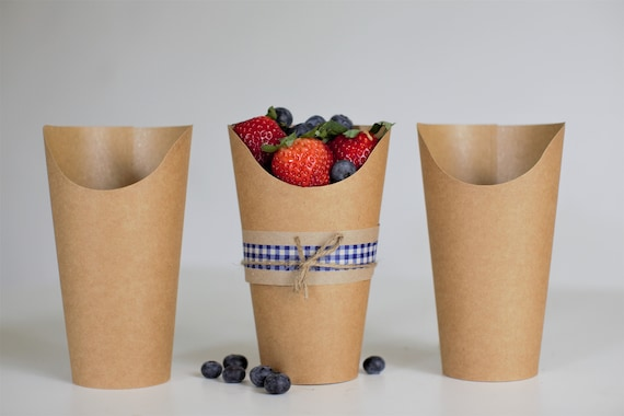5.5 oz Kraft Fry Cup | Kraft Ice Cream Cup | Wrap Cup | Wedding Takeout Container  | Pretzel Rod packaging | - Set of 10