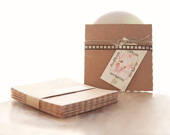 Recycled Kraft CD Sleeves- Set of 40  | wedding cd sleeve, kraft envelope, cd cover, wedding songs favor, photography packaging
