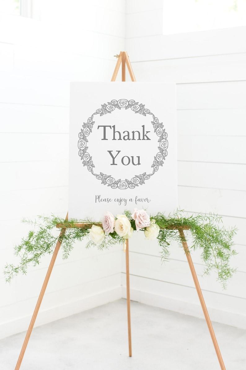Thank You Please Enjoy A Favor  Favor Table Sign  Wedding image 0