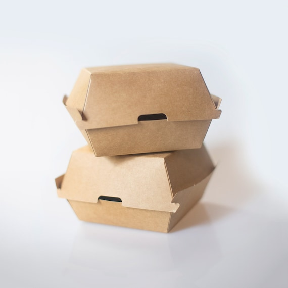 "100 Kraft Burger Box - 5.7 x 5.3 x 3.1"" - Hamburger  - Sandwich Box - Party Takeout Box - Fast Food Container - Wedding Buffet Box"