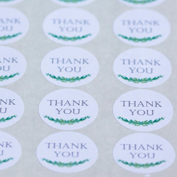 Thank You Circle Stickers - 1.67  in- Set of 24 - Party Favors, Wedding Stickers, Business Thank You Gift