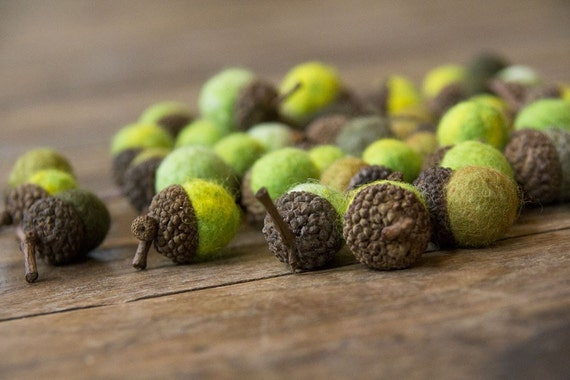 Set of 12 SHADES OF GREEN  Wool Felted Acorns-  As seen in Southern Living magazine| boho, cottage chic, woodland, rustic