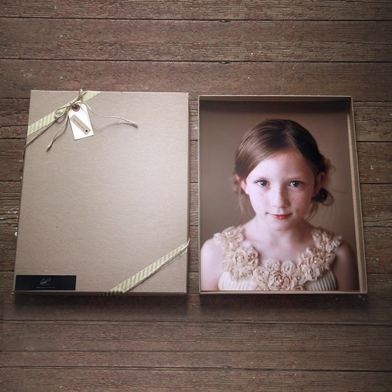 Recycled Kraft Photography Boxes for 8x10 prints-  box measures 8 1/4 x 10 1/4 x 7/8-- Set of 10