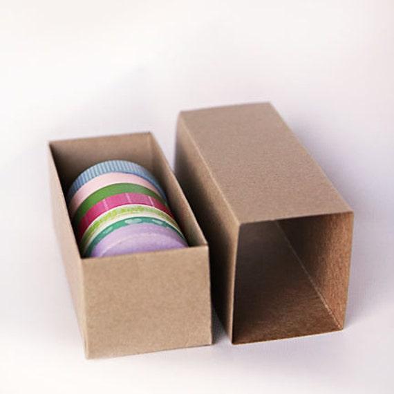 "Set of 10- Kraft or White Slider Boxes- 6 5/16 x 2 1/4 x 2  inches or 12"" x 2 1/4"" x 2"" | Macaroon Box, Washi Tape holder"