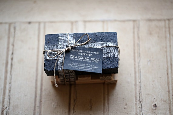 ACTIVATED CHARCOAL SOAP  Bar Only- No holder-   Made In The OZarkS |Black Charcoal Soap, Detoxifying Soap, Groomsman Gift, Man Gift