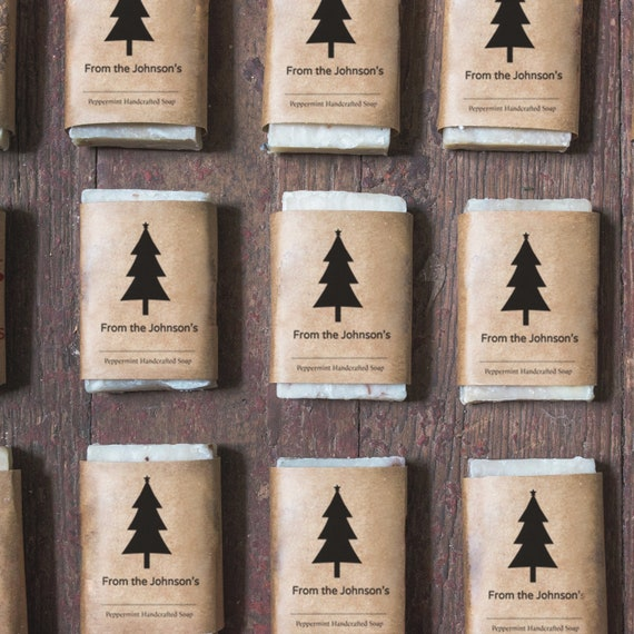 Personalized Soap Favors - 1 oz Holiday Soap - Custom Wedding Favors - Christmas Tree Favors - Handmade Soap - Mini Soap Bars - Hotel Soap
