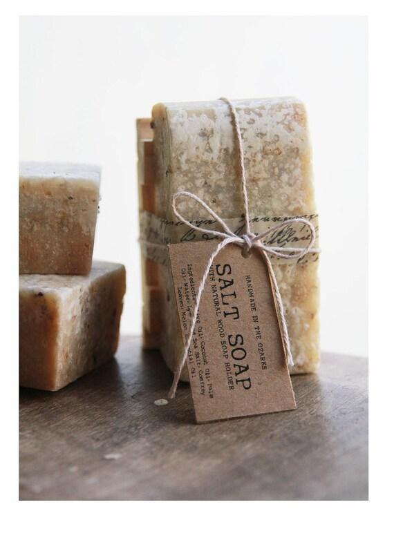 SALT SOAP with wooden soap dish Gift Set Made In The OZARKS  |Sea Salt Soap Bar, Detoxifying Soap, Detox Soap, Rustic Gift, Man Gift