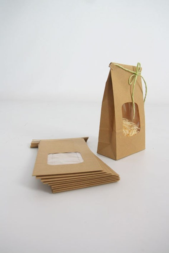 Kraft Tin Tie Bags - Set of 100 w/ window - Coffee Bags, Treat Bags, Window Bags, Wedding Favor Bags, Cookie Bags