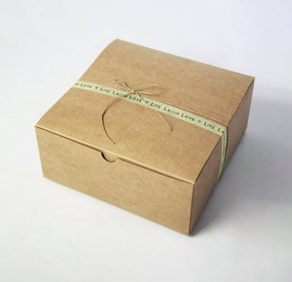 Set of 5 - 9 x 9 x 5.5 inch Kraft Gift Boxes -  Great Cake or Bakery box