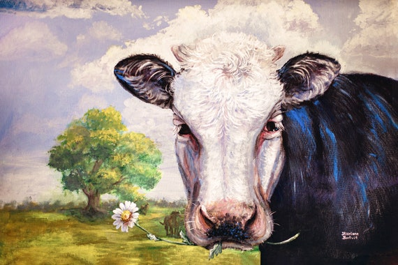 HELLO DEAR - Cow Print- Various Sizes  | Cow Art Print, Modern Farmhouse Decor, Cow Painting, Country Kitchen,  Rustic Wedding Decor