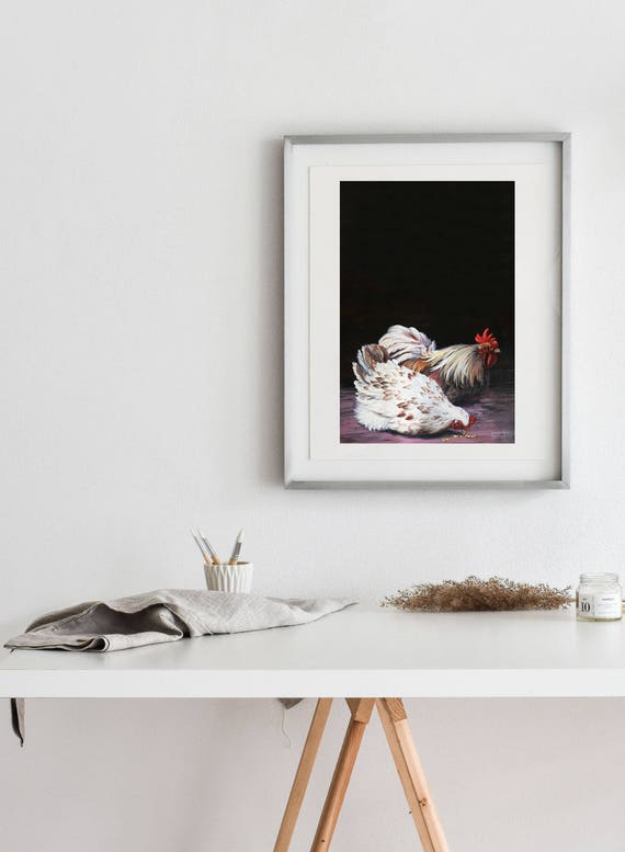 Rooster and Hen Matte Print - Various sizes  | Rooster  Print, Rooster Artwork, Rooster Wall Art, Kitchen Decor, Farm Wall Art