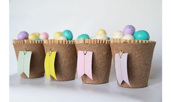 Set of 4- Biodegradable Spring or Easter Treat Cups with Washi Tape Tags