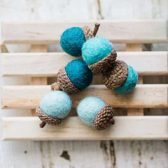Set of 6 SHADES OF TEAL Wool Felted Acorns- use for beautiful wedding decor, home accessories and Christmas ornaments