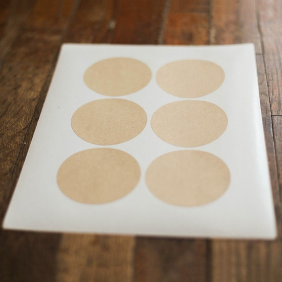 Kraft Circle Labels-2.9 in- Set of 12 -Planners, Scrap booking, Invitations, Packaging, Party Favors, logo