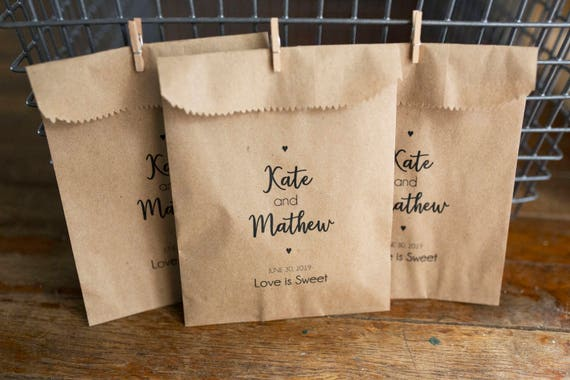 Wedding Favor Bags -  5 x 7 inch Kraft Paper Rustic Bags