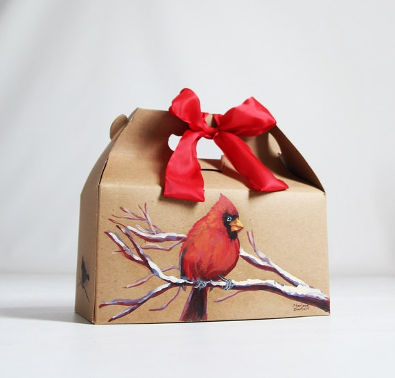 Hand Painted- 9x6x6 Kraft Gable Box Holiday Home Decor