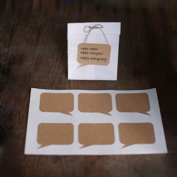 Set of 24- Blank Kraft Word Balloon Stickers - 2 SHEETS OF 12
