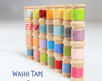 Japanese Washi Tape - 5 Rolls wooden spools -