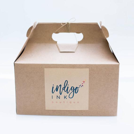 9.5 x 5 x 5  Kraft Natural Gable Gift Box lot of 6  w/ pinstripe texture