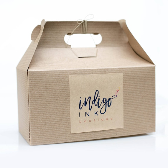 Sample Box -  9.5 x 5 x 5  Kraft Natural Gable Gift Box w/ pinstripe texture