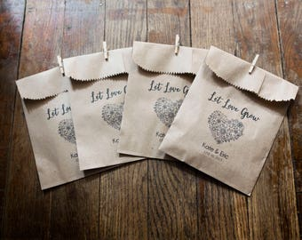 Let Love Grow - Printed Bags for seeds- Wedding Favors - 4 x 6 in Kraft Paper Bags - Seed Wedding Favors, Bird Seed Toss, Personalized  bags