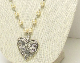 "34"" Cream Glass Pearl Necklace with Heart Pendant #20512 ON SALE!"