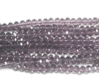 3x4mm Purple Faceted Crystal Rondelle Beads