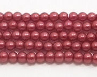 3mm Red Glass Pearls - 1 strand Grade AAA 3mm glass pearls