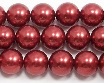 16mm Red Glass Pearls (5) Grade AAA red round glass pearls
