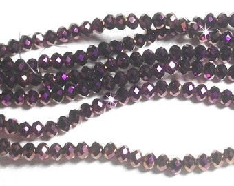 3x4mm Metallic Purple Faceted Crystal Rondelle Beads,3x4mm crystal,4mm crystal rondelle,3x4mm glass crystal,4mm Metallic Purple crystal