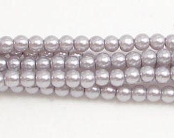 3mm Gray Glass Pearls 1 strand Grade AAA 3mm Gray glass pearls