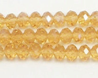 8X6mm Topaz Chinese Crystal Rondelle Beads (50)