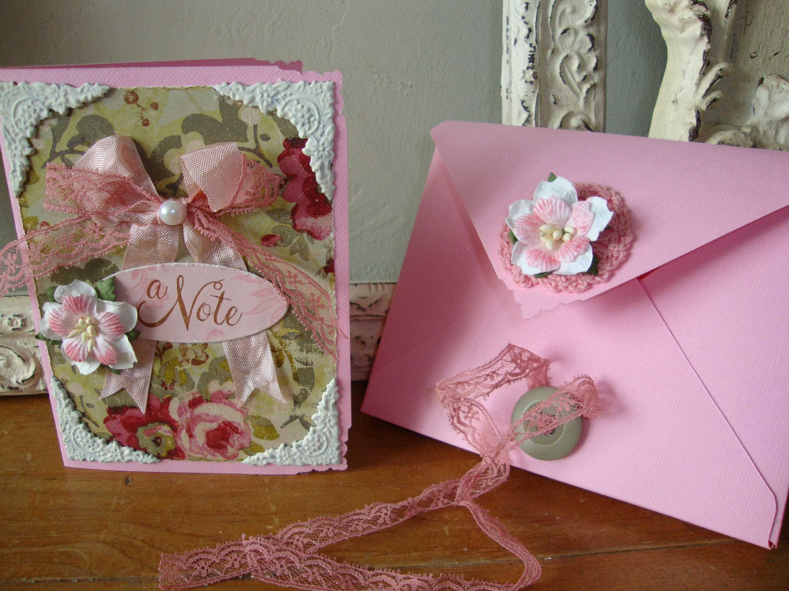 Shabby Chic Note card pink and green floral paper art card