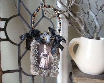 Victorian witch, Halloween photo ornament, vintage witch, Vintage style Halloween ornament, mixed media decor, Halloween assemblage