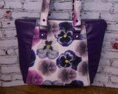Handmade Purple Genuine Leather and Floral Fabric Handbag Tote Bag