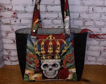 Handmade Bag/Purse/Tote/Skull & Roses