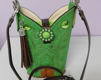 Cowboy Boot Crossbody Purse/Lime Green