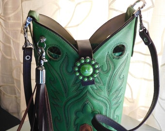 Lime Green Leather Cowboy Boot Purse/Crossbody