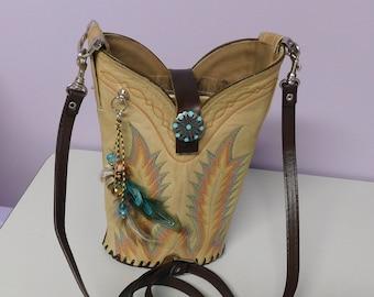 Tan Embroidered Single Cowboy Boot Purse/Crossbody Bag