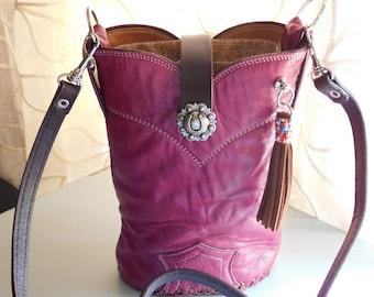 Burgandy Single Leather Cowboy Boot Purse/Crossbody