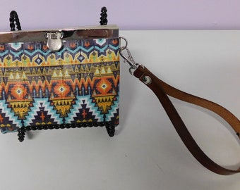 Southwestern Print Leather Wristlet/Wallet