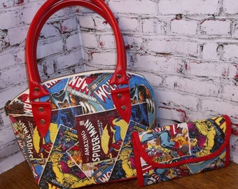 Comic Fabric Handbag/Satchel w/ Matching Wallet