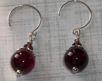 Purple Agate & Sterling Silver Earrings