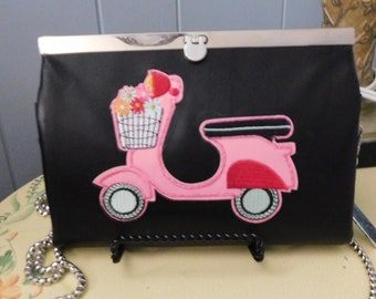 "Black Leather & Pink Scooter ""Vespa"" Wallet/Clutch/Crossbody Purse"