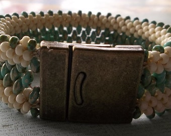 Turquoise and Ivory Beaded Kumihimo Cuff Bracelet