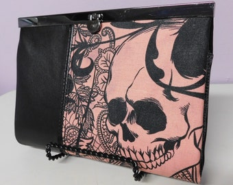 """Black Leather and Pink Alexander Henry's """"After Dark""""  Skull Fabric Wallet/Clutch/Crossbody Purse"""