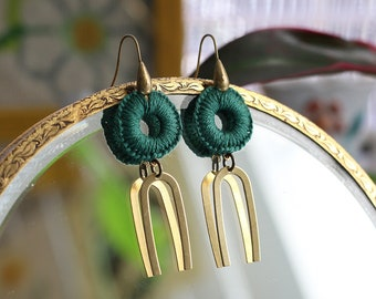 CLEO- thread wrapped statement earrings- fiber, statement